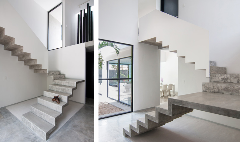 Destined for a home without children, this open layout home holds a raw concrete staircase that connects the first and second floors. Designed by a Mexico studio – Warm Architects – the staircase twists back on itself so that it appears to be made up of two parts.