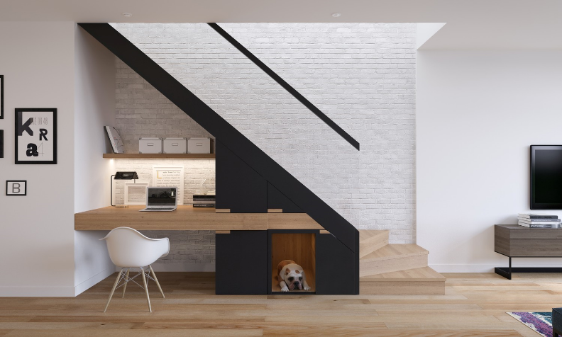Designed by Zinc Developments - this sleek wooden staircase with a working space underneath is integrated into the room's modern design without adding clutter. With Zinc's progressive design and forward thinking, we're developing step by step.