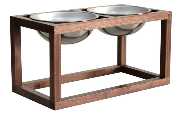 Handmade, black walnut dog feeder - Minimal, open design elevates the dish to a comfortable feeding height for your pet.Perfect to accent a home with similar wooden finishes, or that of contrasting wood! (Sold by – Wake the Tree Furniture Co.)