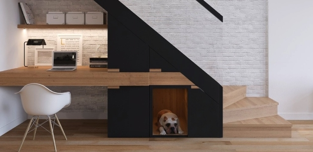 """There's Rex! Perfect for the busy home, or people who tend to entertain – this forward thinking tucked away home is for when the puppy needs it's own little oasis. 35 Wabash shows us how effortlessly a dog's space can be a beautiful edition to the modern home. (Via – Zinc Developments """"35 Wabash"""")"""