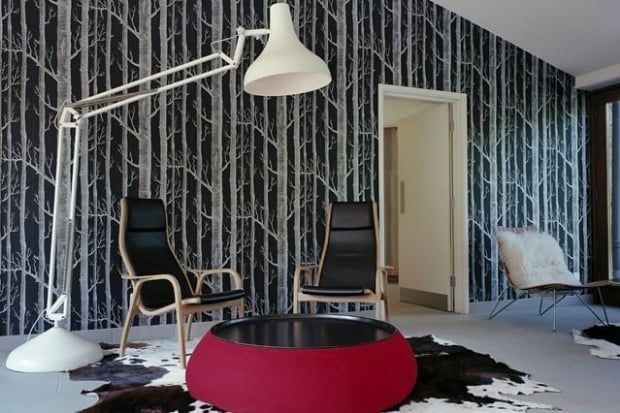 Inspired by Scandinavian forests, this intricate wallpaper helps bring the outside in. This would also look great in a foyer, without being too overwhelming. (Via – Mr & Mrs Smith boutique hotels)