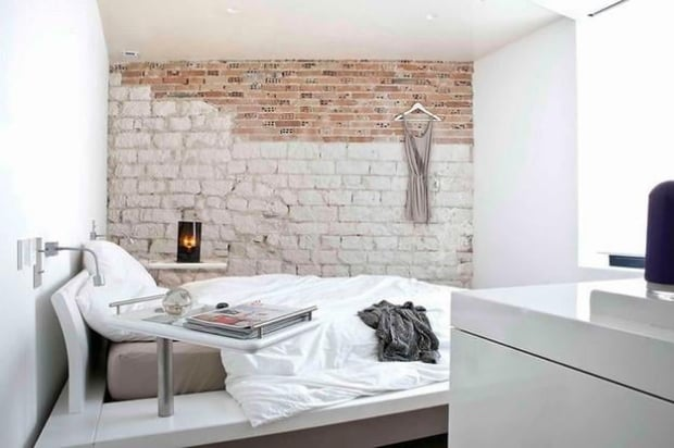 In their natural state, brick walls are very charming but painting the brick can result in a calming space. Even further, painting half the wall like the photo above is very stylish. (Via – Lushome)