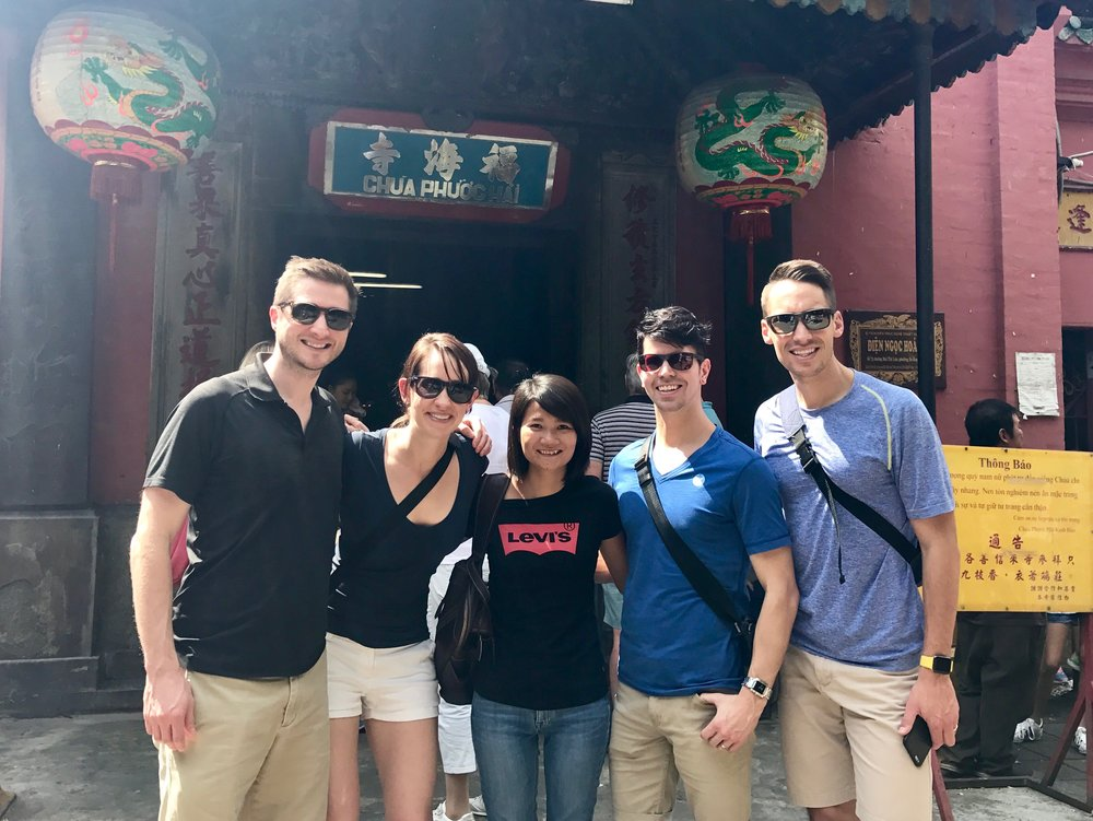 Alex, Brett, Kate and Tom from America at the Jade Pagoda, Saigon.