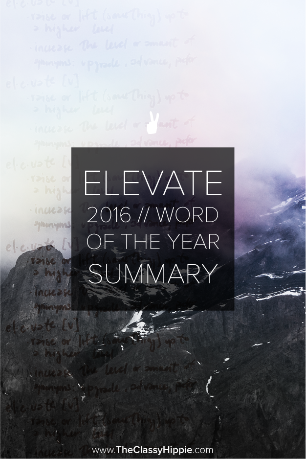 Elevate -- 2016 Word of the Year Summary -- The classy Hippie