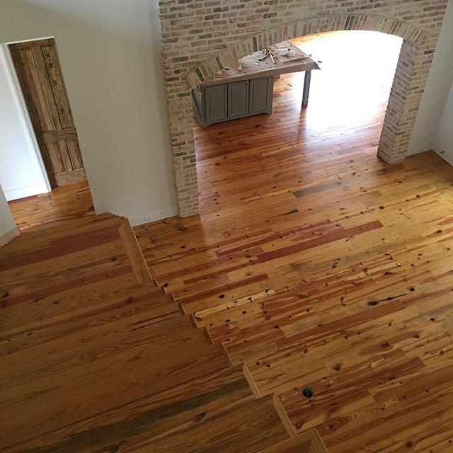 The antique pine at our Oakridge project came out beautifully. Do you prefer dark or light hardwood? Warm or cool tones?