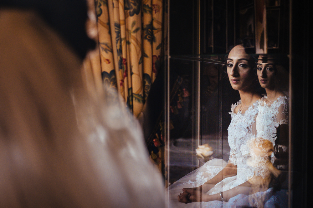 Bride and her reflection - Bolton Muslim Wedding