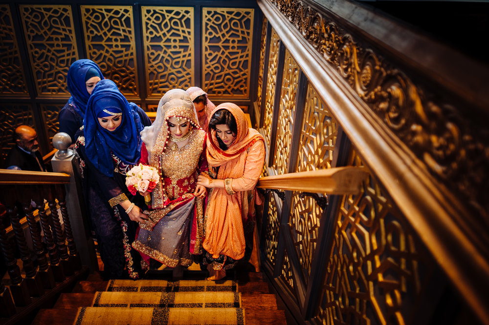Bride arrives for a Muslim Wedding Ceremony at Tipu Sultan in Birmingham
