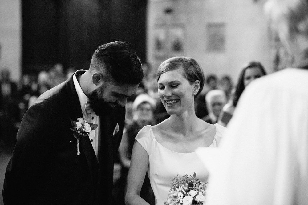 wedding couple photographed at the Swedish Church in London