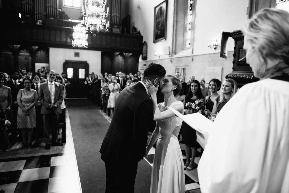First Kiss at The Swedish Church in London