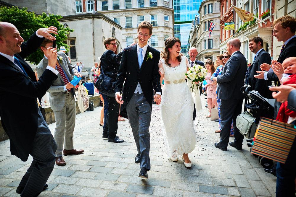 confetti run at the Dutch Church, Austin Friars London