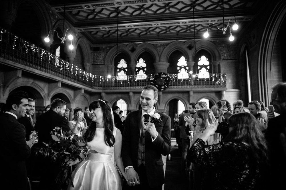 Happy couple after a wedding ceremony at Manchester Town Hall