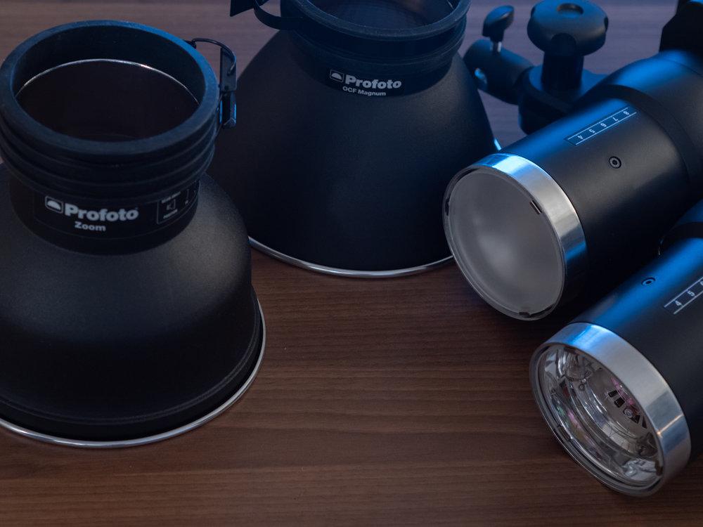 Fra venstre: Zoom reflector, OCF Magnum, Standard Glass og Klart Glass.