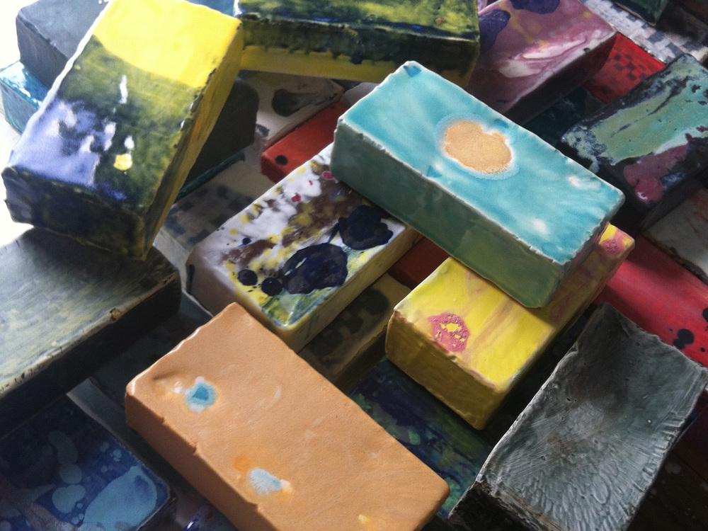 Multi colored ceramic bricks.
