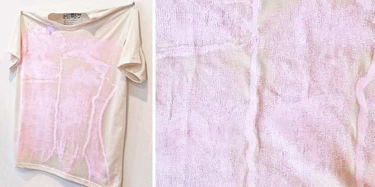 Left: Louise Eastman's VICTORY GARDEN t-shirt. Right: T-shirt detail.