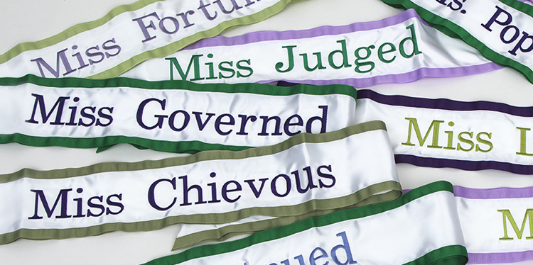 """Suffragette Sashes"" from MISS 2017"