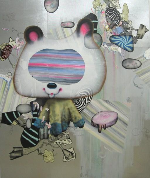 "B.O.P.  60"" x 48"", acrylic, fabric, latex enamel, markers on plywood, 2013"