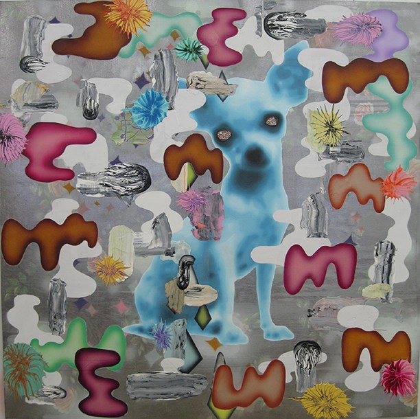 """Doodles  48"""" x 48"""", acrylic, latex enamels, paper, spray paint, fabric on plywood, 2015"""