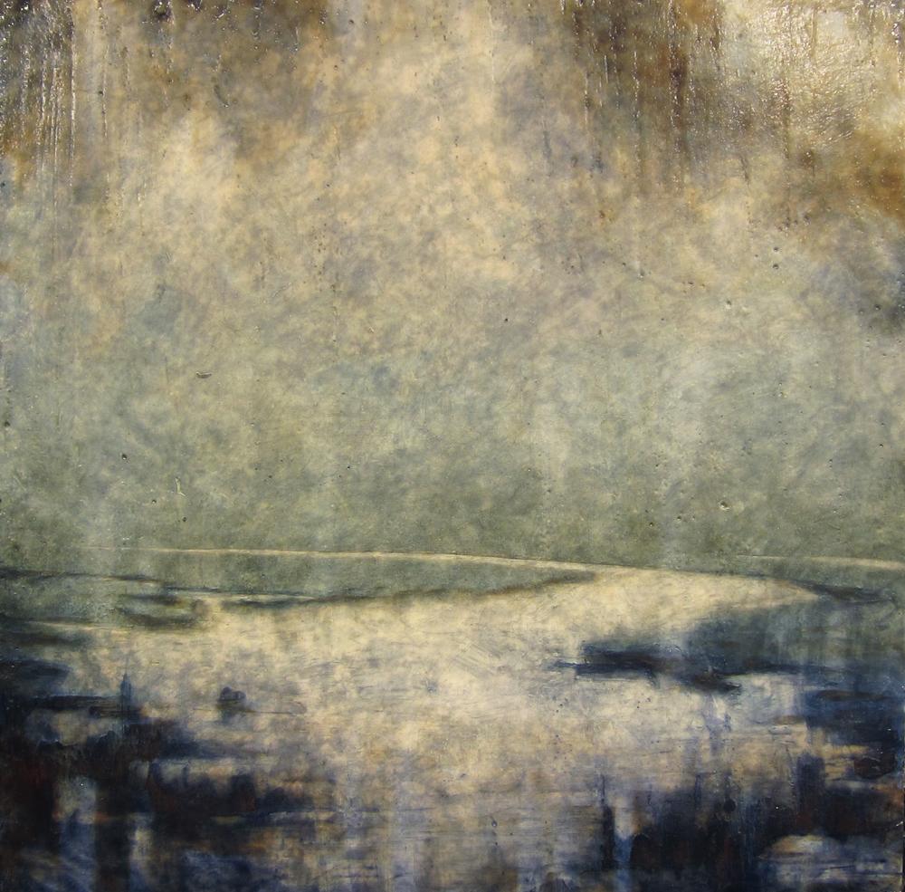 "Nightfall  21"" x 21"",   encaustic on canvas over wood panel, 2014"