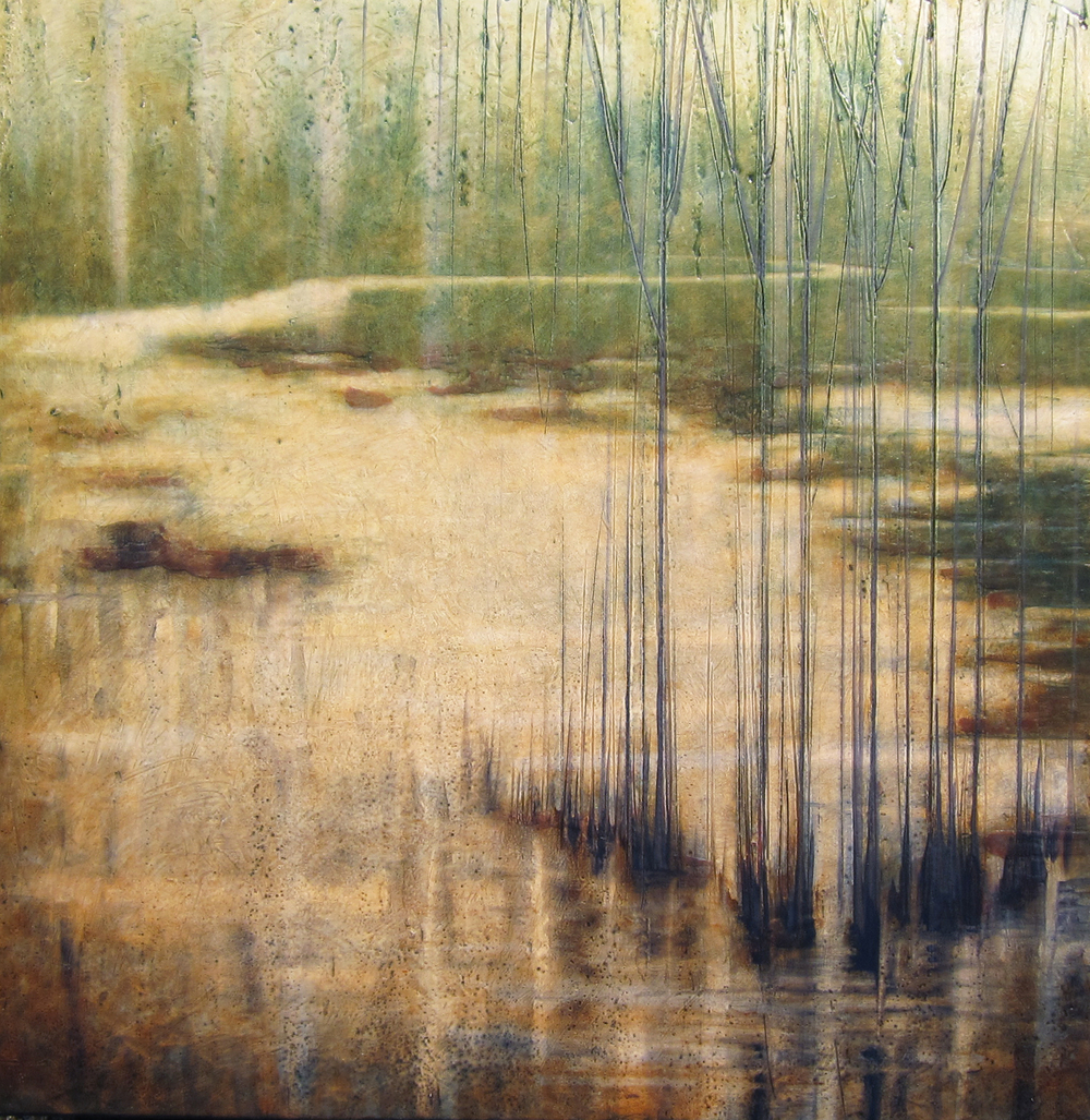 """Tranquil Waters  21"""" x 21"""",   encaustic on canvas over wood panel, 2014"""