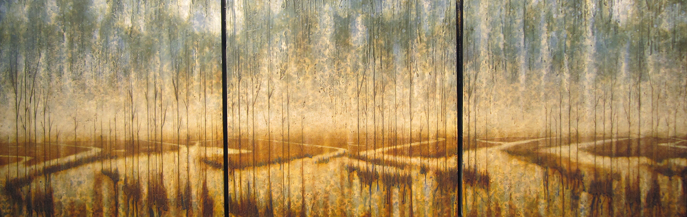 "River Swell Triptych  30"" x 90"",   encaustic on canvas over wood panel, 2014"