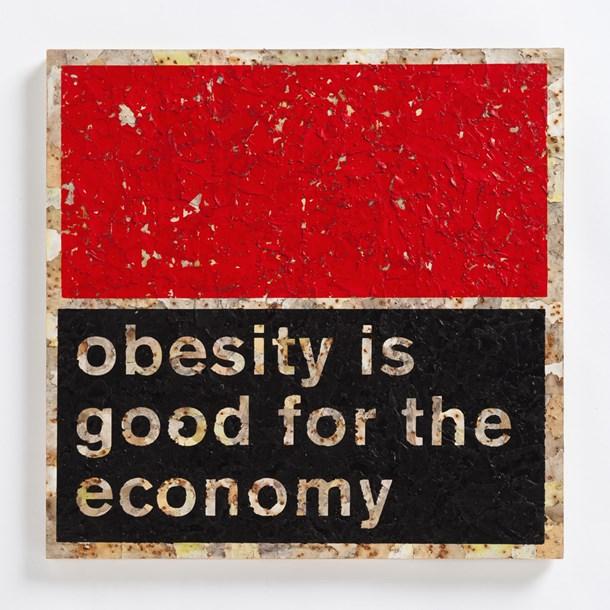 "Economy - Obesity  16"" x 16"", mixed media on panel, 2014"
