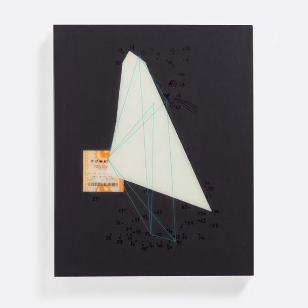 "Luck #1  16"" x 20"", acrylic and thread on panel, 2014"