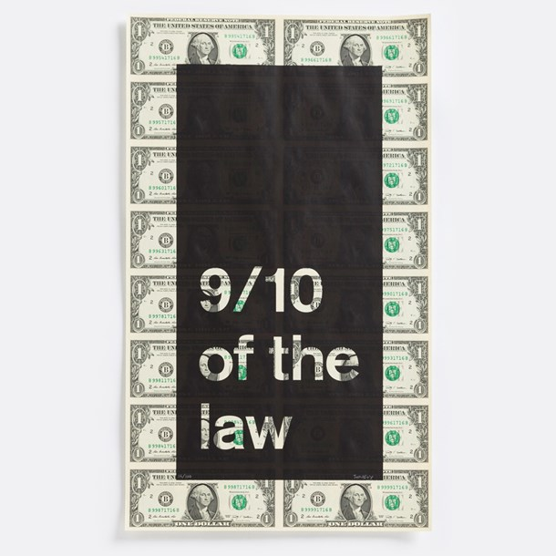 "Possession  12"" x 21"", screenprint on US currency, 2014"