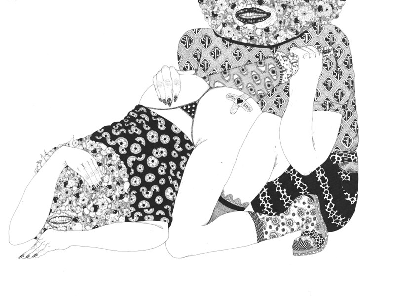 "Craig Calderwood  Scoobie Doo  30"" x 22"", micro pen on cotton paper, 2014"