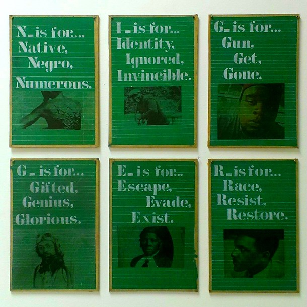 "Rodney Ewing  Six Letter Word  6 panels, 12"" x 18"" each, mixed media on chalkboard, 2014"