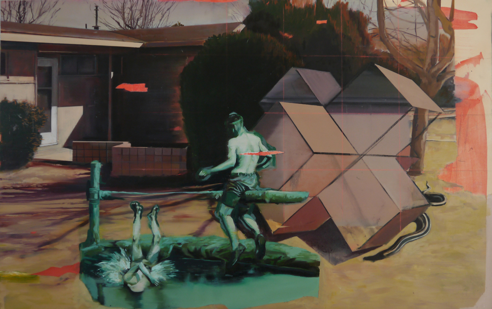 "The Water Fight    42"" x 65"", oil on canvas    ,   2013"