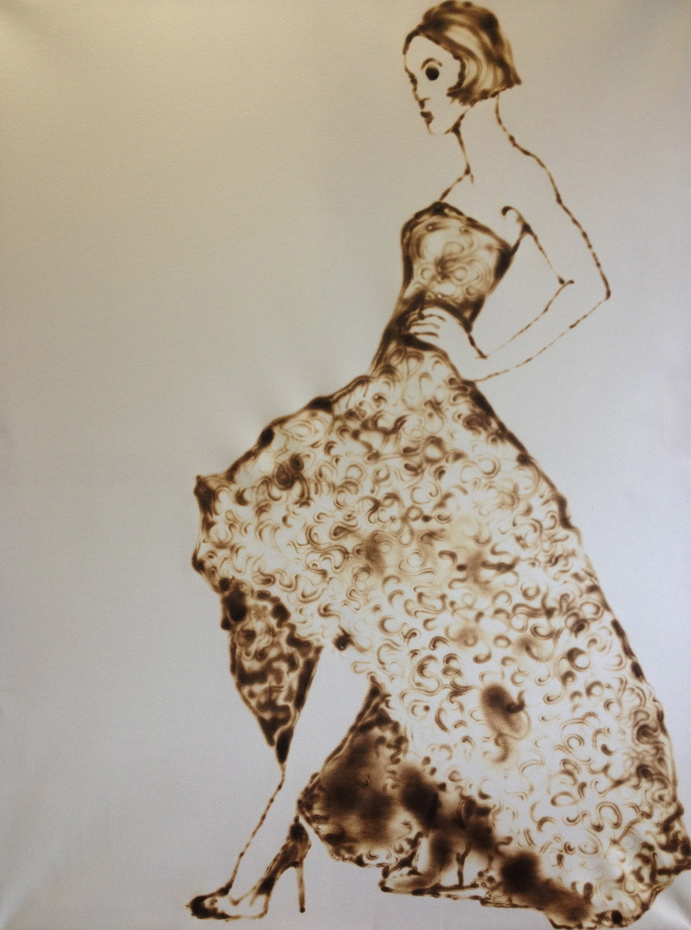 "Belle    51"" x 38"", burnt paper, 2014"