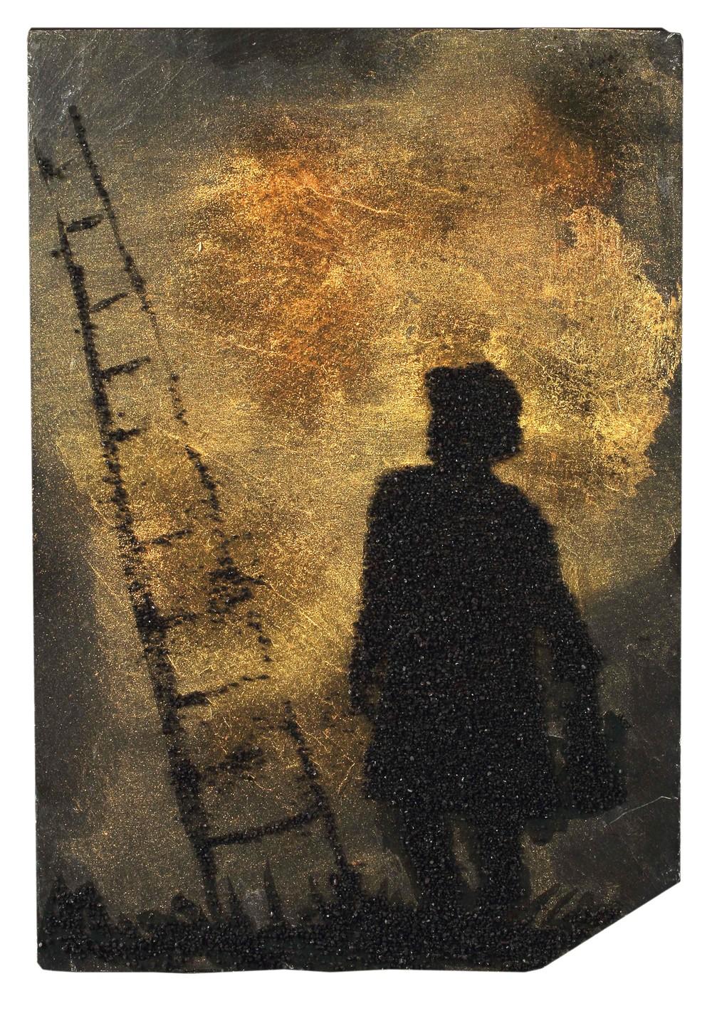 "Monsieur Jacob    12"" x 9"", gold & black sand on slate, 2014"