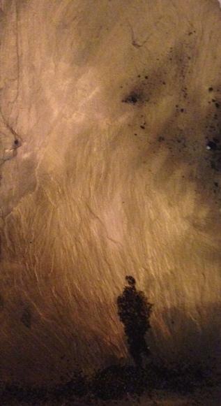 "Tempest    18"" x 11"", gold & black sand on slate, 2014"
