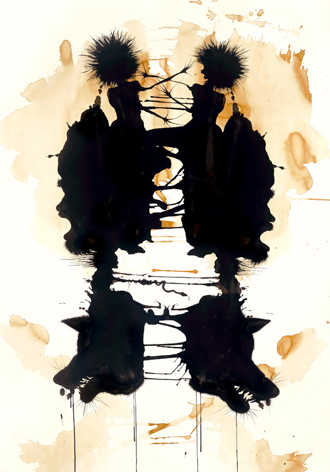 """Inkblot (Struwwelpeter)    84"""" x 42"""", s  umi ink and tea on Arches watercolor   paper, 2013"""