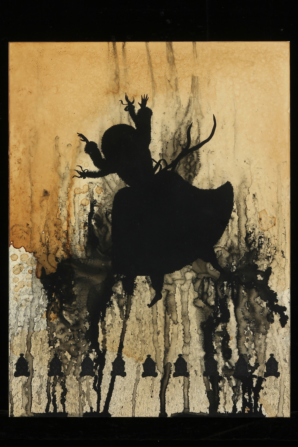 """Das Maedchen in Flammen   (The Girl in Flames)     24"""" x 18"""", s  umi ink and tea on panel, 2012"""