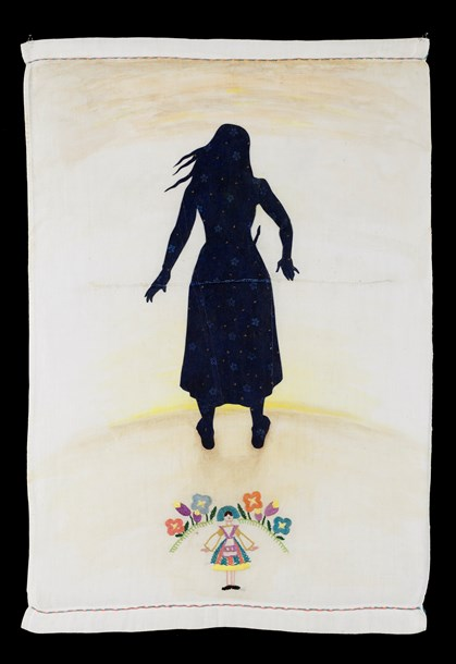 """The End  16"""" x 23"""", acrylic and stitching on re-purposed domestic linen, 2014"""