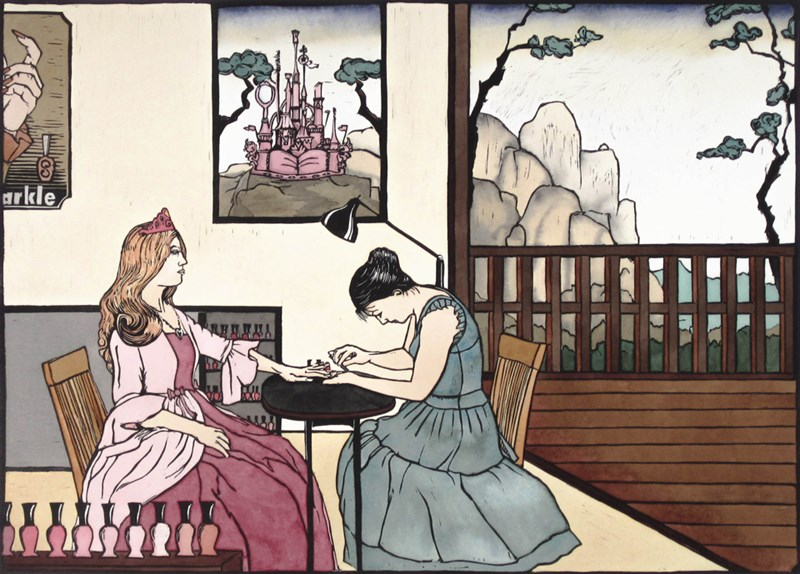 """At the Manicurist  12"""" x 15"""", linoleum cut with watercolor, 2012"""