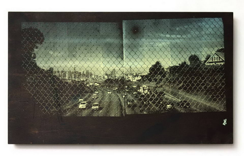 """Jon Fischer  This Traffic Jam Will All Be Over Soon  17"""" x 10"""", screen print on wood, 2014"""