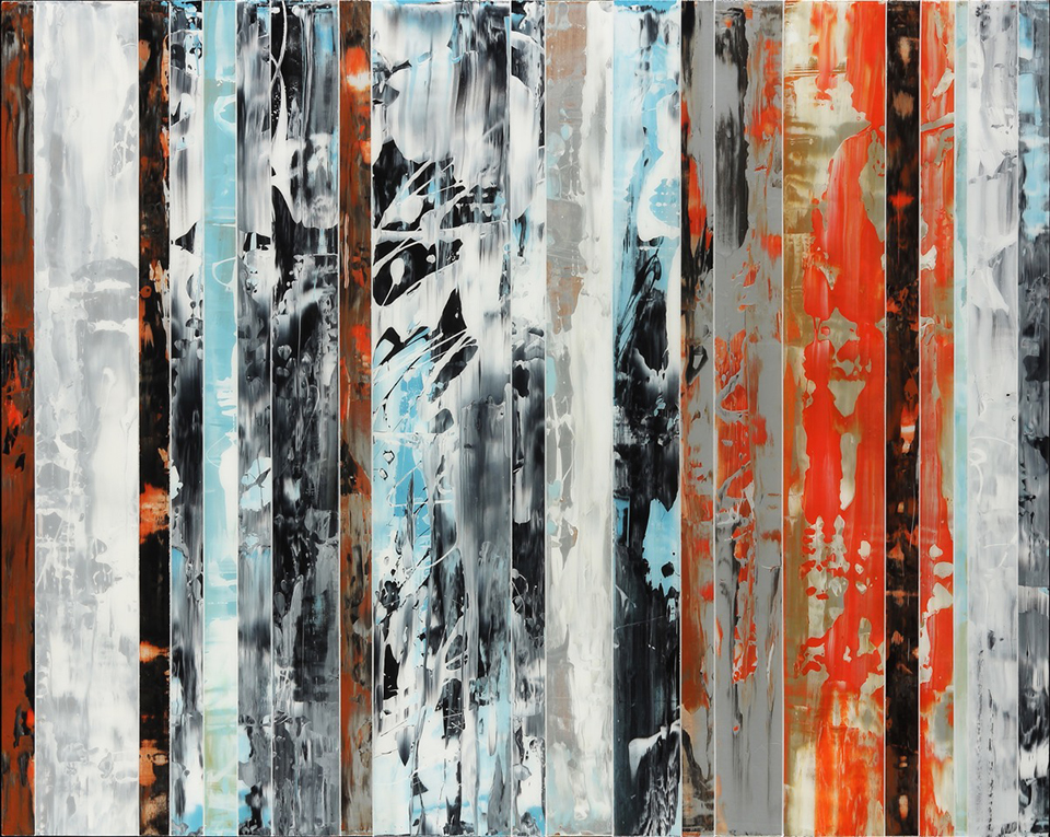 """Andrzej Michael Karwacki  Equanimity Redefined Series 11    -  3    48"""" x 60  """"  , acrylic paint and resin on birch   panel,  2014"""