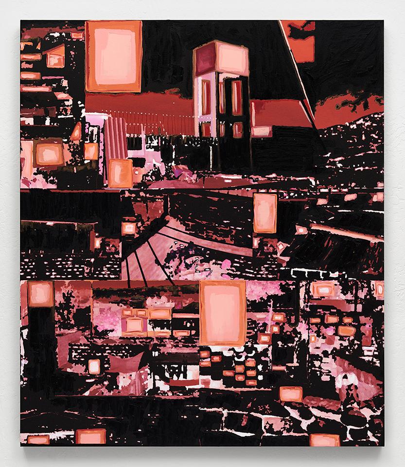 """Beth Davila Waldman  City of Sillar      No. 5    47-7/8"""" x 56"""", mixed media on canvas, 2013"""