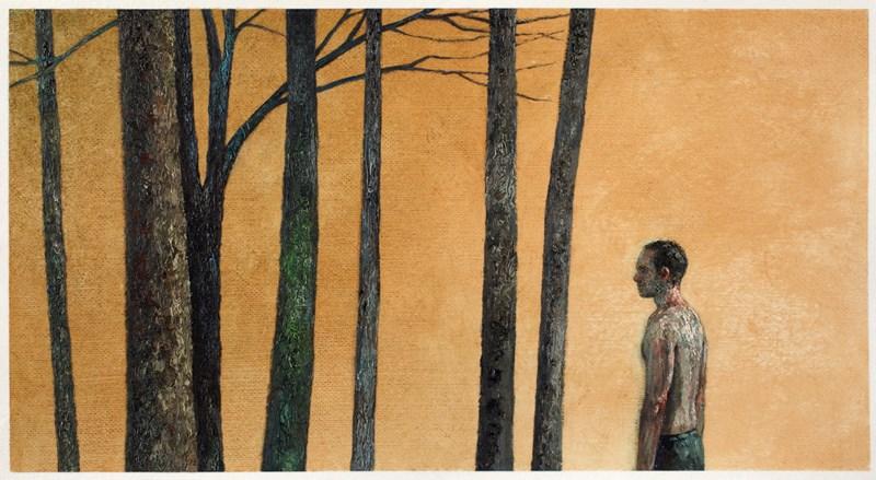 "Woodsman 12  7"" x 14"", oil on paper, 2014"