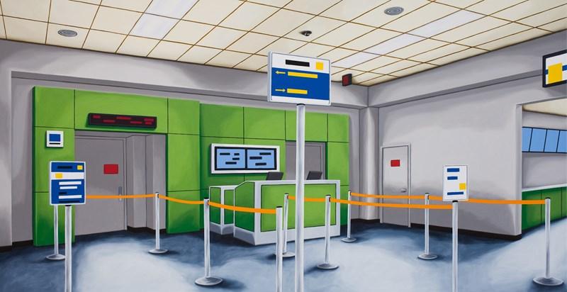 "Gate B  26"" x 50"", oil on canvas, 2014"