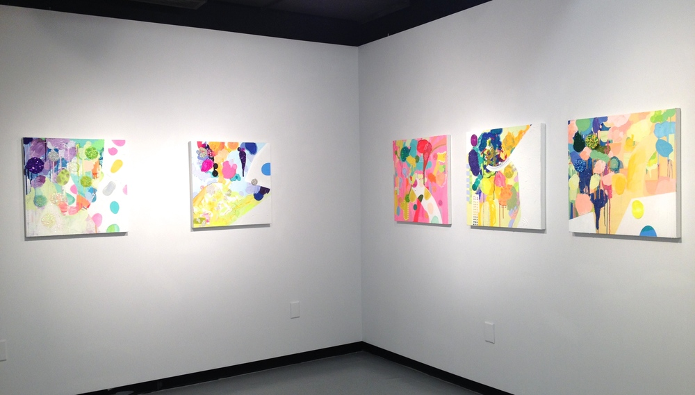 """Truffle  (installation view) each 24"""" x 24"""", acrylic, glitter and watercolor on canvas, 2015"""