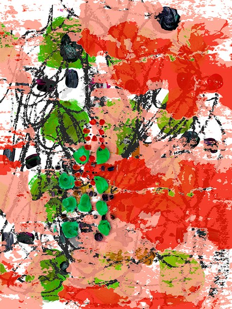 "Orange Landscape  48"" x 36"", acrylic, acrylic transfer, oil paint on board, 2014"