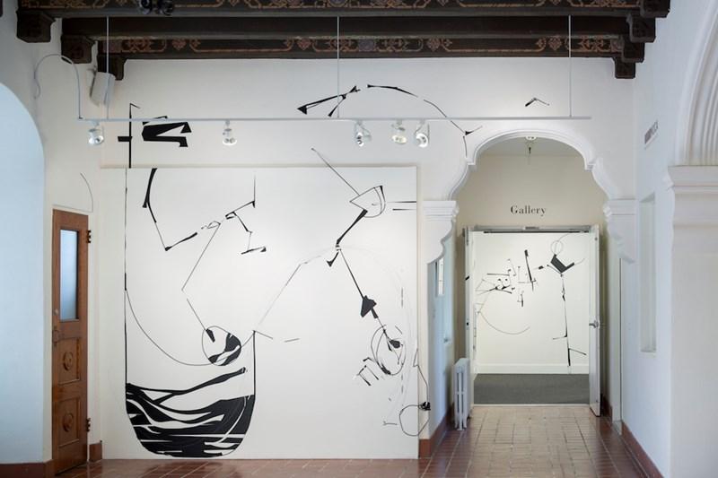"Invincible Buoy l  178"" x 140"", tape installation at Marin MOCA, 2014"