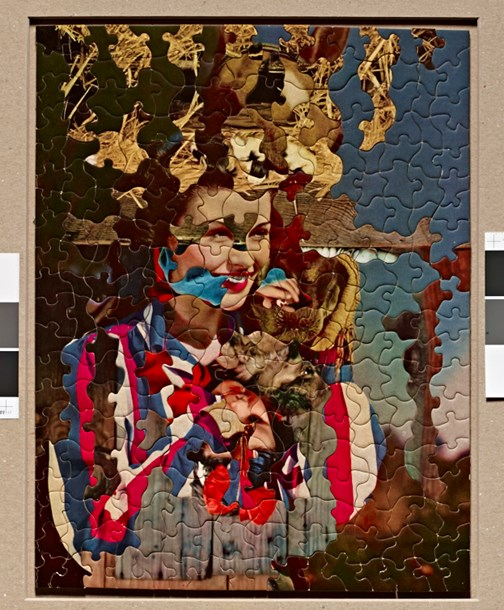 """Black Madonna (b)  24"""" x 19"""", puzzle mounted to board, 2014"""