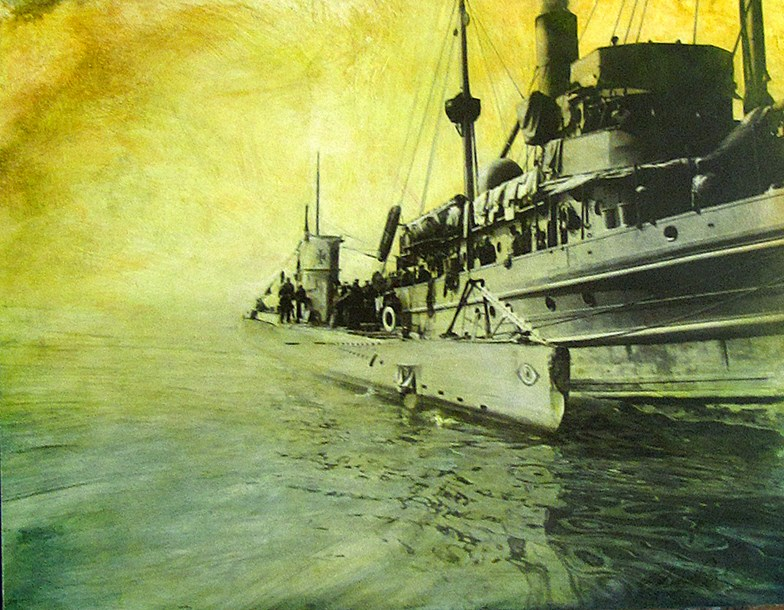 """German Sub and Ship, San Francisco Bay WW1  24 x 30"""", ink, pigment and acrylic on paper mounted on wood panel, 2012"""