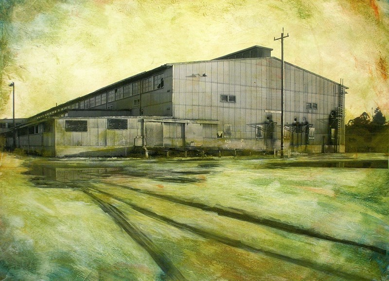 """Hunters Point Shipyard, Building No. 123 Battery Overhaul and Storage, Substation V  14"""" x 19.5"""", ink, pigment and acrylic on paper mounted on wood panel, 2010"""