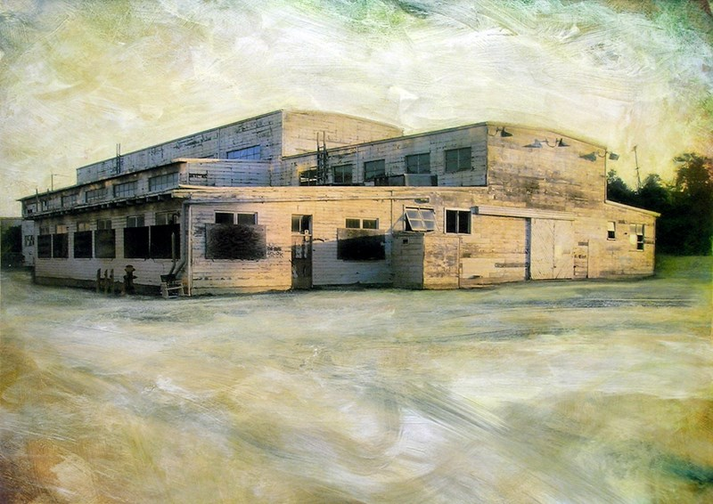 """Hunters Point Shipyard, Building No. 113 –Torpedo Overhaul and Storage, Tug Maintenance Bldg  14"""" x 19.5"""", ink, pigment and acrylic on paper mounted on wood panel, 2010"""