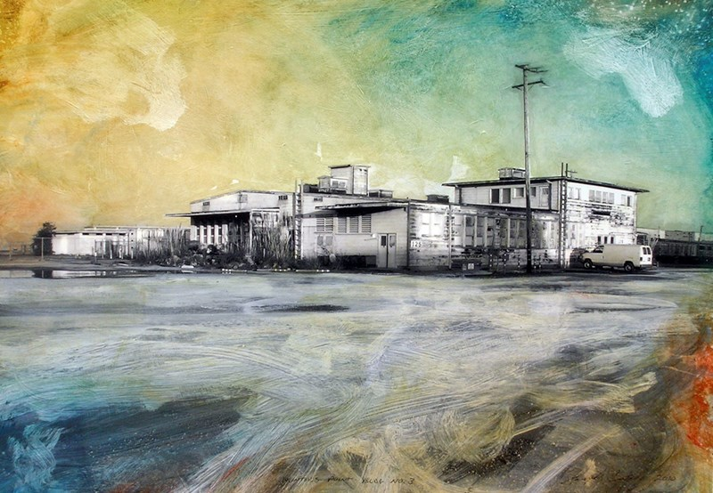 """Hunters Point Shipyard, Building No. 125 Submarine Caffeteria  14"""" x 19.5"""", ink, pigment and acrylic on paper mounted on wood panel, 2010"""